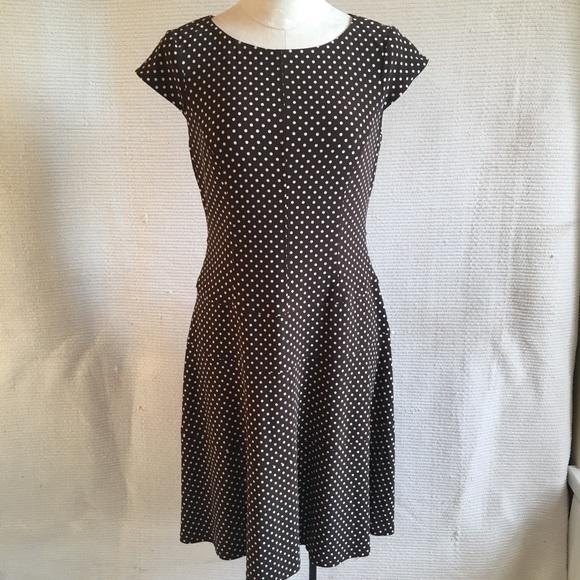 Vintage Dresses & Skirts - Vintage Anne Klein Polka Dots Midi Lady Day Dress